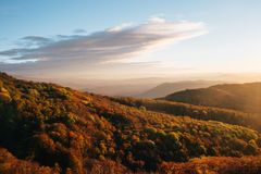 Sunset in the mountains in the Crimea Stock Image