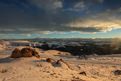 Sunset in the mountains Elbrus, Northern Caucasus, Russia Royalty Free Stock Photo