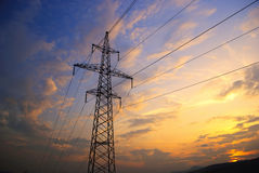 Sunset in mountains and electrified Stock Photo