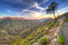 Sunset in the mountains of Gran Canaria Royalty Free Stock Image