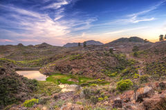 Sunset in the mountains of Gran Canaria Stock Photo