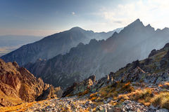 Sunset in mountains in High Tatras, Slovakia Royalty Free Stock Photo