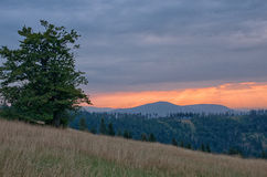 Sunset in the mountains. Stock Photography