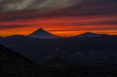 Sunset in mountains of Kamchatka Royalty Free Stock Image