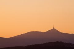 Sunset in mountains. Karkonosze Mountains Stock Photography