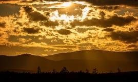 Sunset in the mountains of Khibiny, Kola Peninsula ,. Russia Royalty Free Stock Image