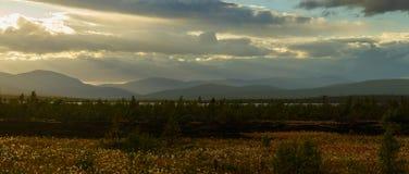 Sunset in the mountains of Khibiny, Kola Peninsula , Russia.  Stock Image