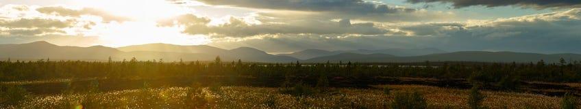 Sunset in the mountains of Khibiny, Kola Peninsula. Russia Stock Images