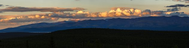 Sunset in the mountains of Khibiny, Kola Peninsula ,. Russia Royalty Free Stock Photos