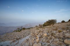Sunset in the Omani mountains. Sunset in the mountains in the Kingdom of Oman. Location Al Jebal Akhdar Stock Photography