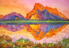 Sunset in the mountains. And lake Stock Images