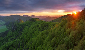 Sunset in the mountains landscape Stock Photo