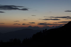 Sunset on the mountains Royalty Free Stock Photo