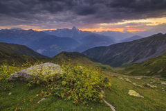 Sunset in the mountains landscape. Royalty Free Stock Photography