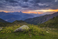Sunset in the mountains landscape. Royalty Free Stock Photo
