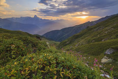 Sunset in the mountains landscape. Royalty Free Stock Image
