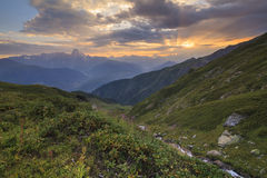 Sunset in the mountains landscape. Stock Image