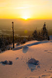 Sunset in the mountains. Lots of snow, sunset, romantic picture, nice view stock image