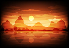 Sunset mountains nature forests valleys rivers Vector Illustration Stock Image