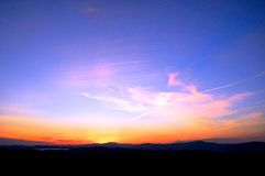 Sunset. With mountains in New Hampshire Stock Photo