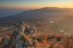 Sunset on the  mountains overlooking the sea. Royalty Free Stock Photography