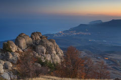 Sunset on the  mountains overlooking the sea. Stock Photography