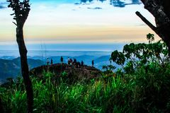 A sunset in the mountains royalty free stock images