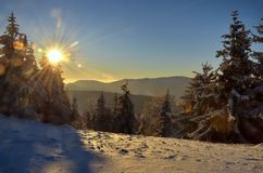 Sunset in mountains. Sunset in polish beskids mountains stock image