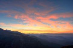 Sunset in mountain. Sunset in Polish Tatra Mountain stock photos