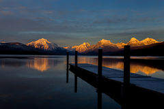 Sunset, Mountains, Reflection, Lake, Dock Royalty Free Stock Photos