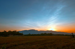Sunset and the mountains Stock Image