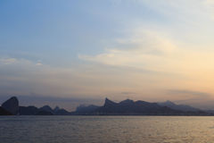 Sunset mountains of Rio de Janeiro from Niteroi Royalty Free Stock Image