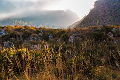 Sunset in the mountains of Riserva Naturale dello Zingaro Royalty Free Stock Image