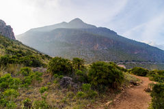 Sunset in the mountains of Riserva Naturale dello Zingaro in Sicily (Italy) Stock Images