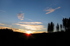 Sunset in mountains. Romantic sunset in the Novohradske mountains forest, Czech Republic, Europe royalty free stock photography