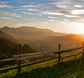 Sunset at the mountains Stock Images