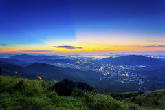 Sunset in the mountains. It is the sunset scene in Hong Kong Royalty Free Stock Image