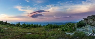 Sunset in the mountains of the Southern Urals. Beautiful sunset sky. The nature of the Southern Urals. Stock Photos