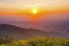 Sunset mountains in summer Royalty Free Stock Image