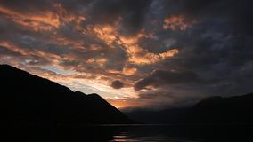 Sunset in the mountains. Sunset in the Montenegrin mountains. Su. N to sit down behind the mountains stock video footage