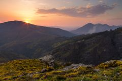 Sunset at the Mountains royalty free stock photography