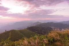 Sunset on the mountains at Thailand - Myanmar border Royalty Free Stock Image