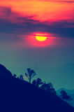 Sunset in mountains,Tree silhouette with scenic sunset sun over. Colorful sky background Stock Image