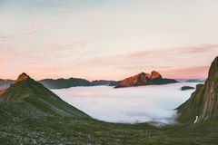 Sunset Mountains valley clouds Landscape in Norway royalty free stock photography