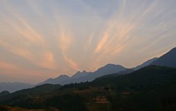 Sunset in mountains of Vietnam. View of sunset in vetnamese village royalty free stock photos