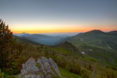 Sunset in the mountains. View of the valley Royalty Free Stock Photography