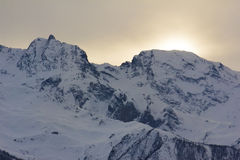 Sunset in the mountains. In winter Stock Photo