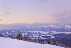 Sunset in mountains. Winter time sunset in carpathian mountains Royalty Free Stock Image