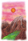 Sunset Mountains (Zen Pictures II, 2012) Royalty Free Stock Photos
