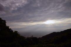 Sunset of the mountaintop of Osaka. Royalty Free Stock Image
